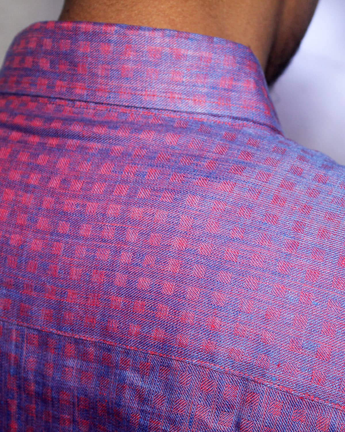 Red-Blue Check Linen Shirt