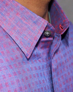 Red Blue Check Linen Shirt