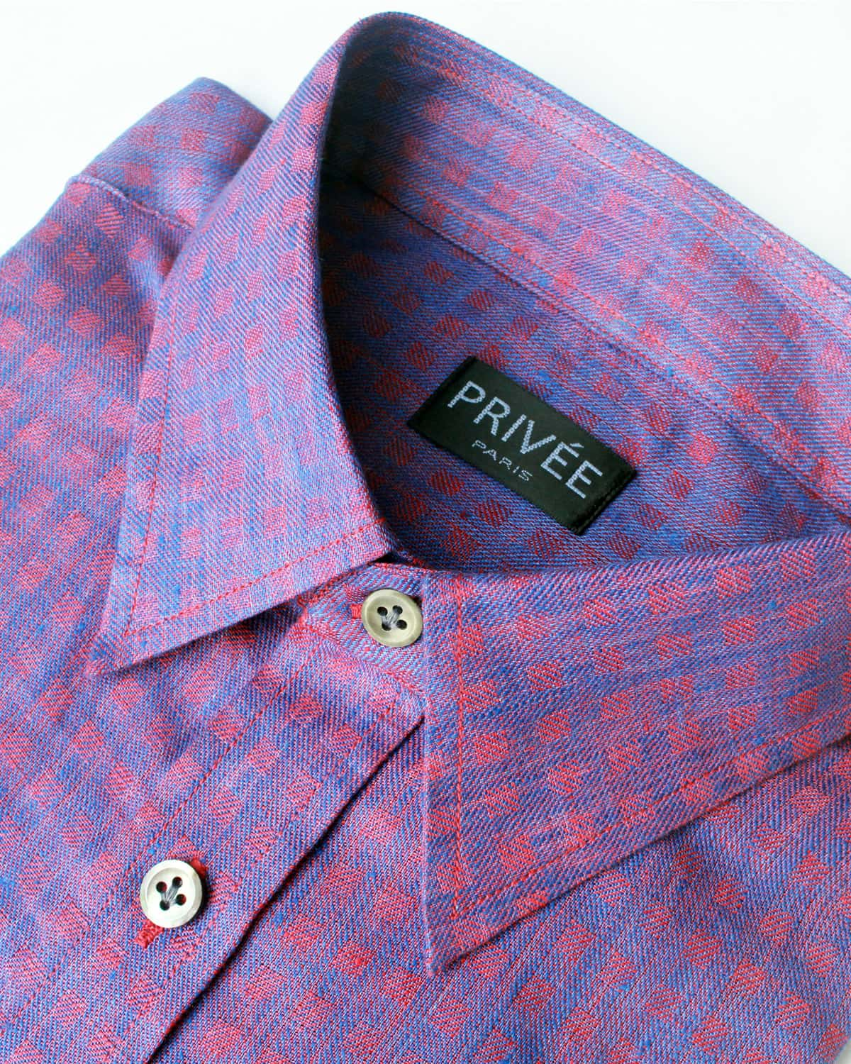 Red-Blue Check Linen Shirt - Privee Paris