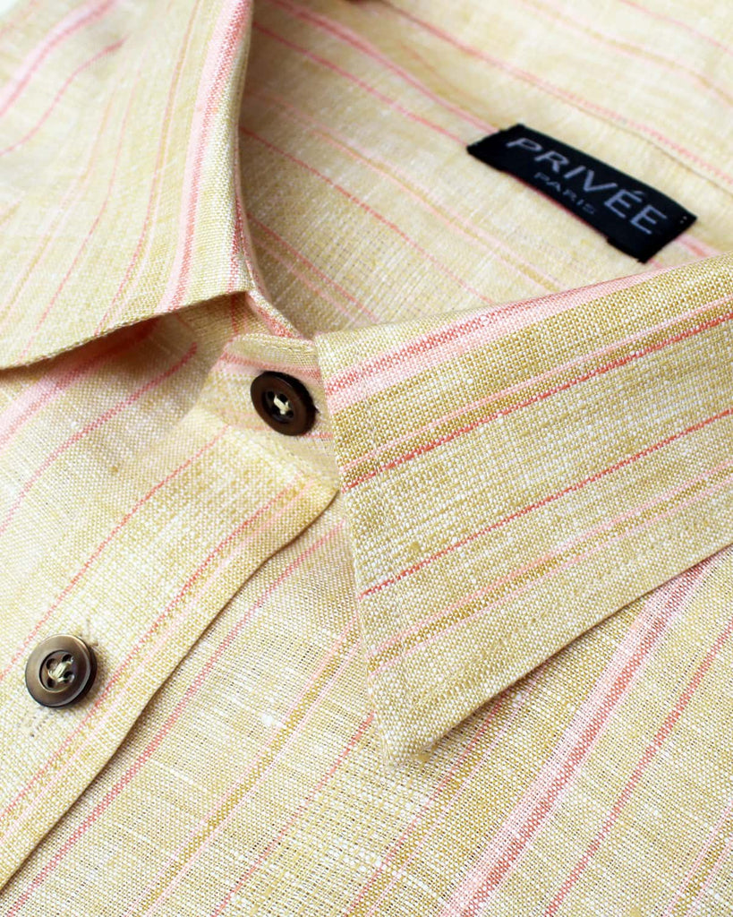 Beige Pink Stripe Linen Shirt - Privee Paris
