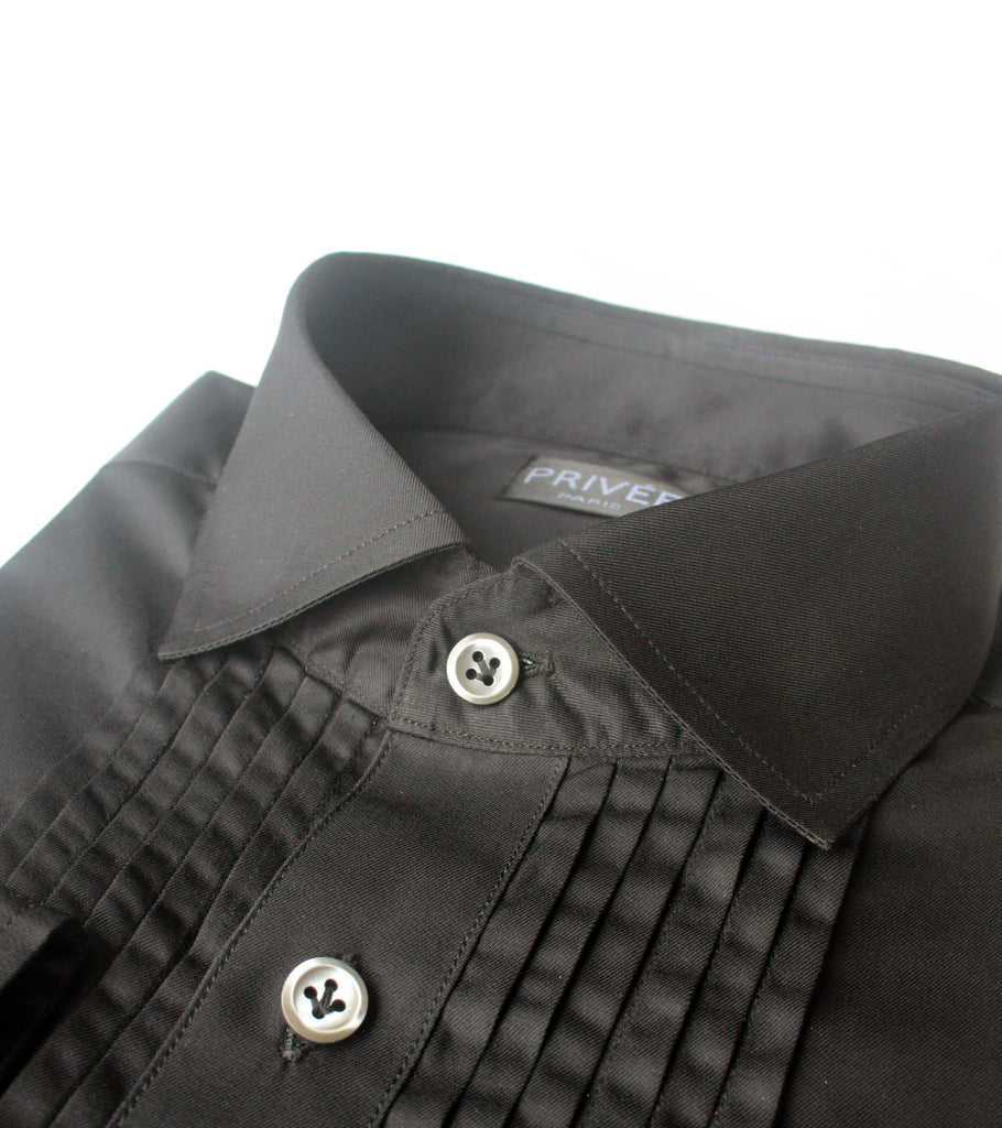 Black Pleated Luxury Shirt - Privee Paris