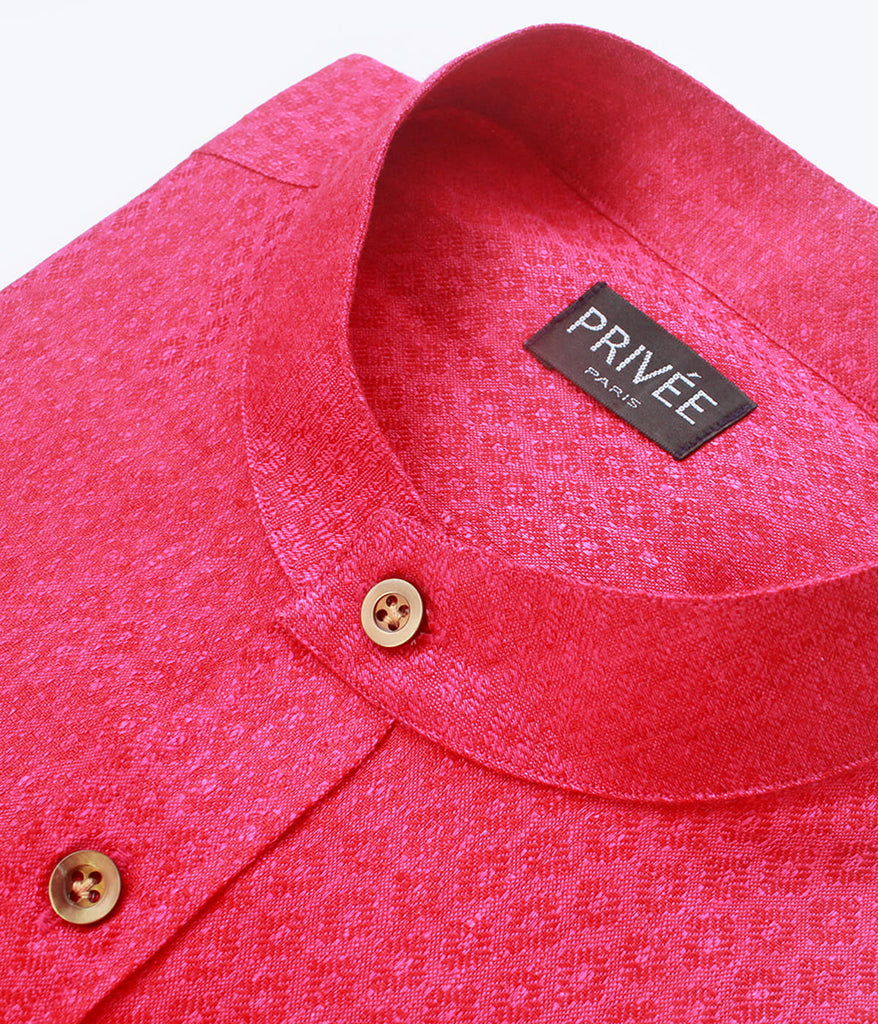 Magenta Linen Wedding Shirt (New) - Privee Paris