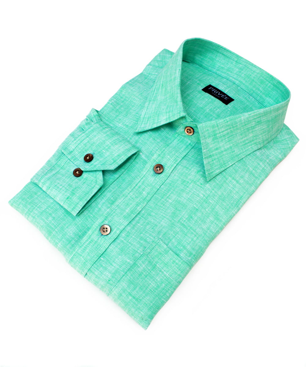 Privee Paris Mint Linen Shirts
