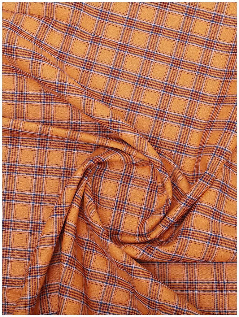 Orange-Blue Check Linen Shirt (Half Sleeves)