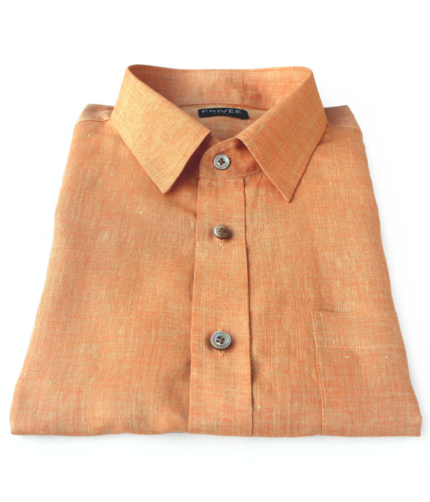 Orange Linen Shirt - Privee Paris