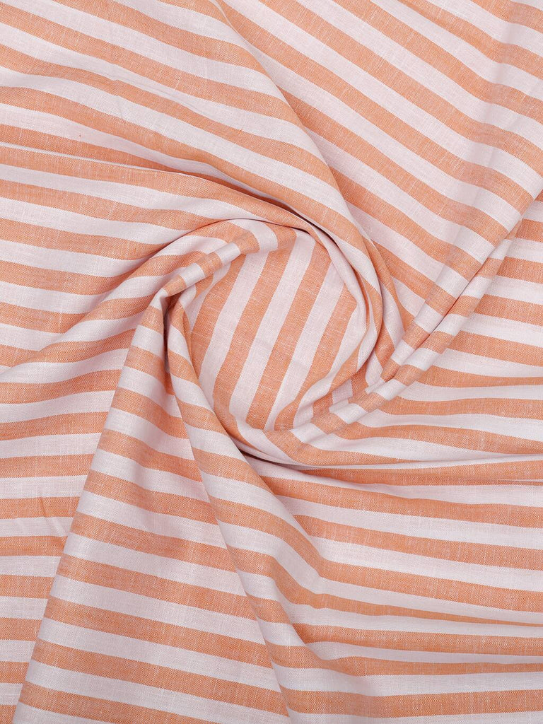 Orange-White Stripe Linen Shirt (Half Sleeves)