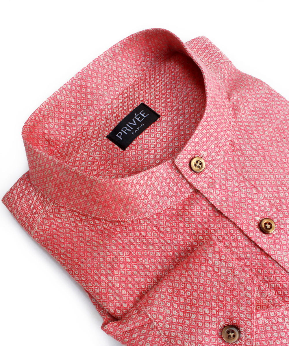 Pink Linen Wedding Shirt