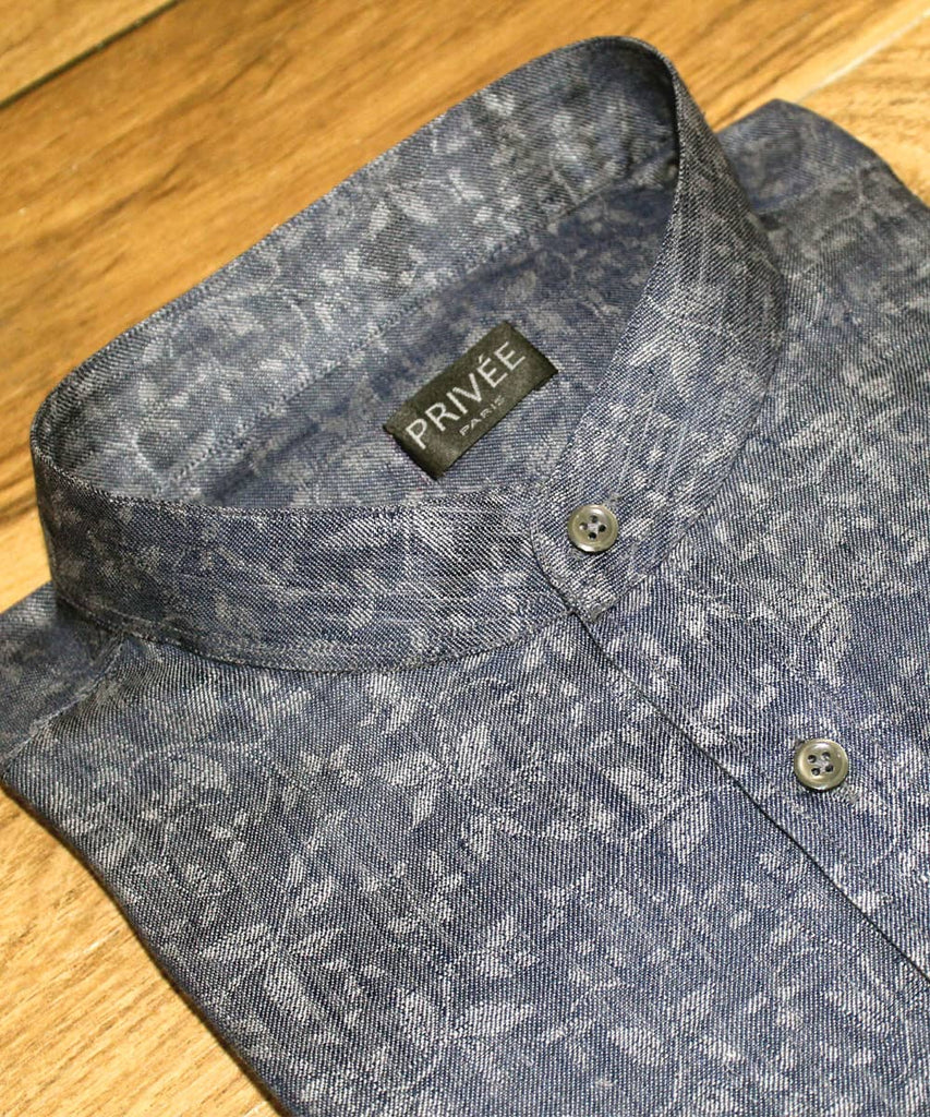 Heritage Collection- Prussian Blue Floral Linen Shirt