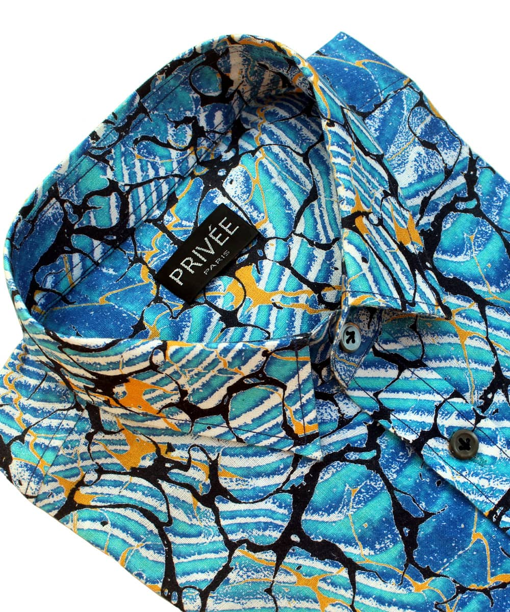 Splash of Aqua Printed Linen Shirt