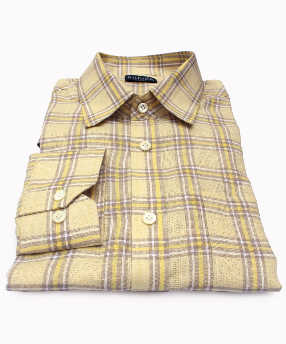 Spring Yellow Linen Shirts India