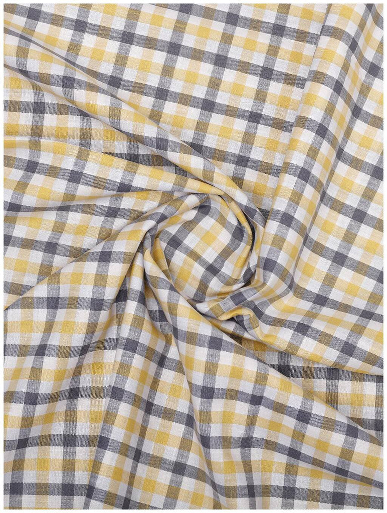 Yellow-Grey Check Linen Shirt (Half Sleeves)