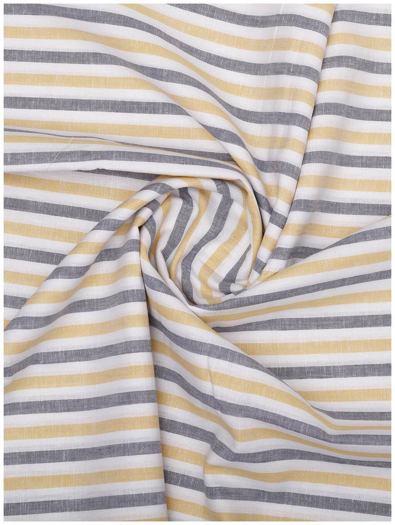 Yellow-Grey Stripe Linen Shirt (Half Sleeves)