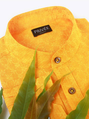 Yellow Linen Wedding Shirt (For the Prosperity)