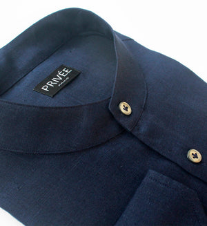 Navy Blue Linen Shirts