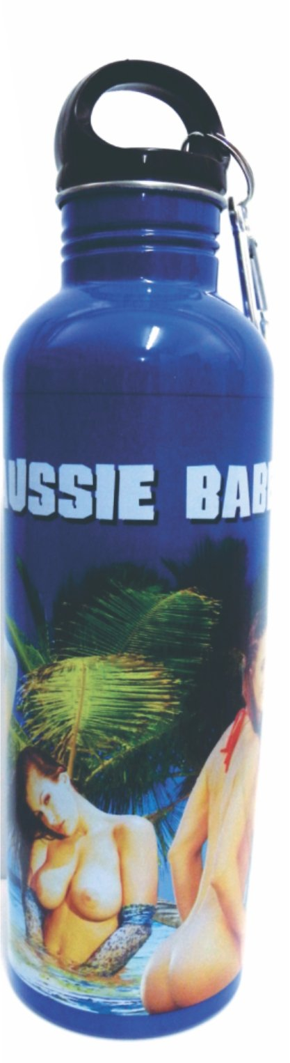 **CLEARANCE** Trekker Flask Bottle 750ml Stainless Steel Aussie Australian Theme with clip - fair-dinkum-gifts