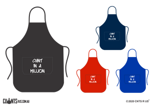 Cunt In A Million Apron With Pockets - Choose From Black, Red, Navy or Royal Blue CRU06-03-27001