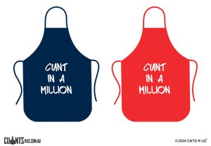 Cunt In A Million Apron NO POCKET - Choose From Red or Navy Blue CRU06-01-28001