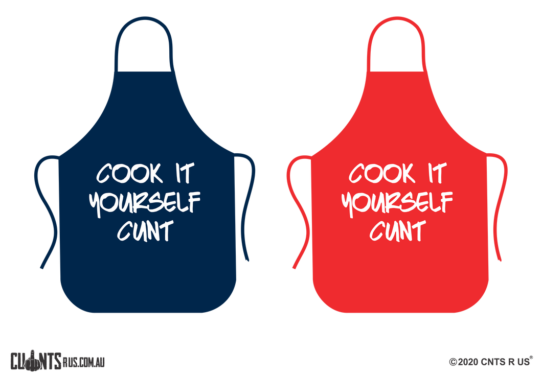 Cook It Yourself Cunt Apron NO POCKET - Choose From Red or Navy Blue CRU06-01-28002
