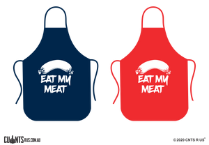 Eat My Meat Apron NO POCKET - Choose From Red or Navy Blue CRU06-01-28004