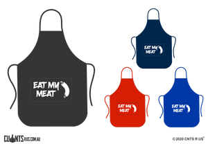 Eat My Meat Apron With Pockets - Choose From Black, Red, Navy or Royal Blue CRU06-03-27004