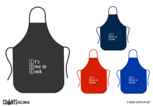 It's Time To Cook Apron With Pockets - Choose From Black, Red, Navy or Royal Blue CRU06-03-27007
