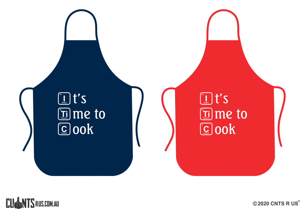 It's Time To Cook Apron NO POCKET - Choose From Red or Navy Blue CRU06-01-28007