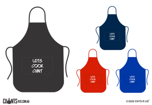 Let's Cook Cunt Apron With Pockets - Choose From Black, Red, Navy or Royal Blue CRU06-03-27008