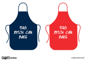 This Bitch Can Bake Apron NO POCKET - Choose From Red or Navy Blue CRU06-01-28010