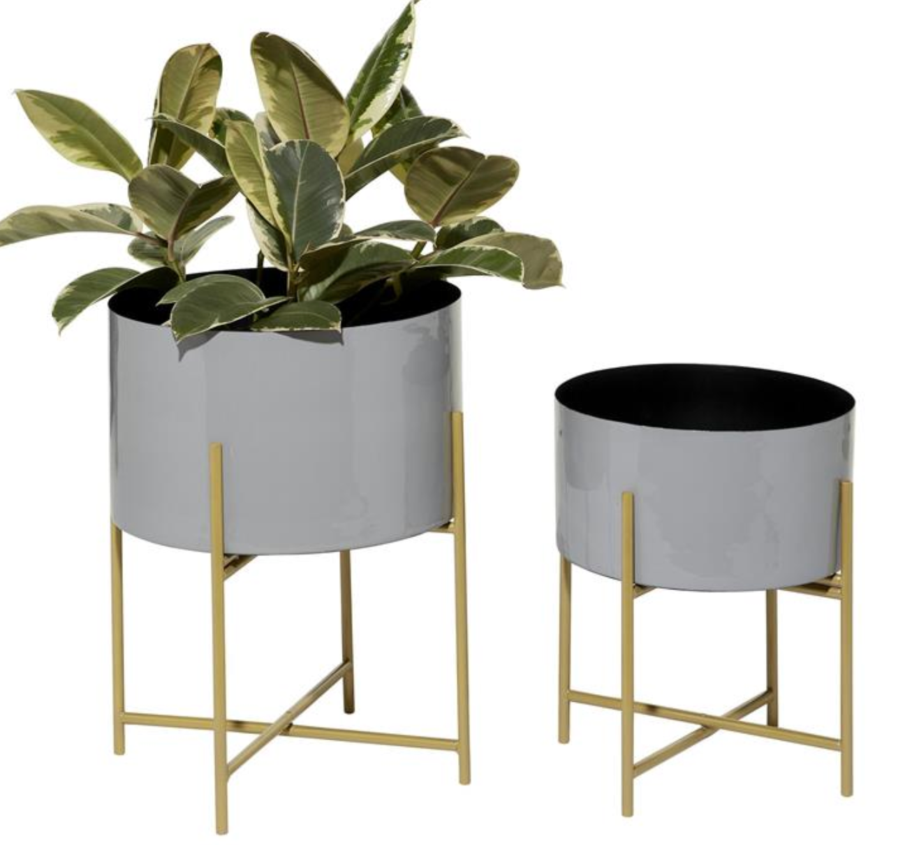 Grey Planter on Gold Stand