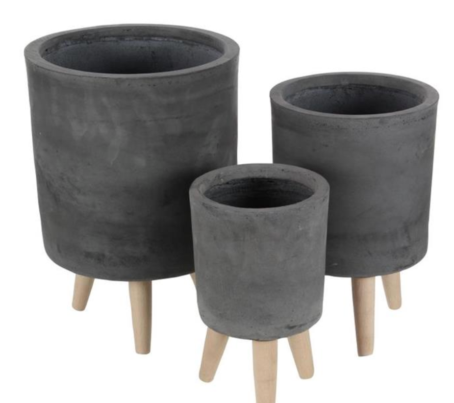 Cement Finish Pot with Wooden Legs