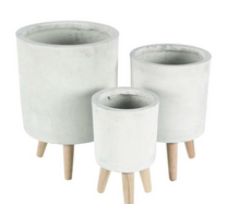 Load image into Gallery viewer, Cement Finish Pot with Wooden Legs