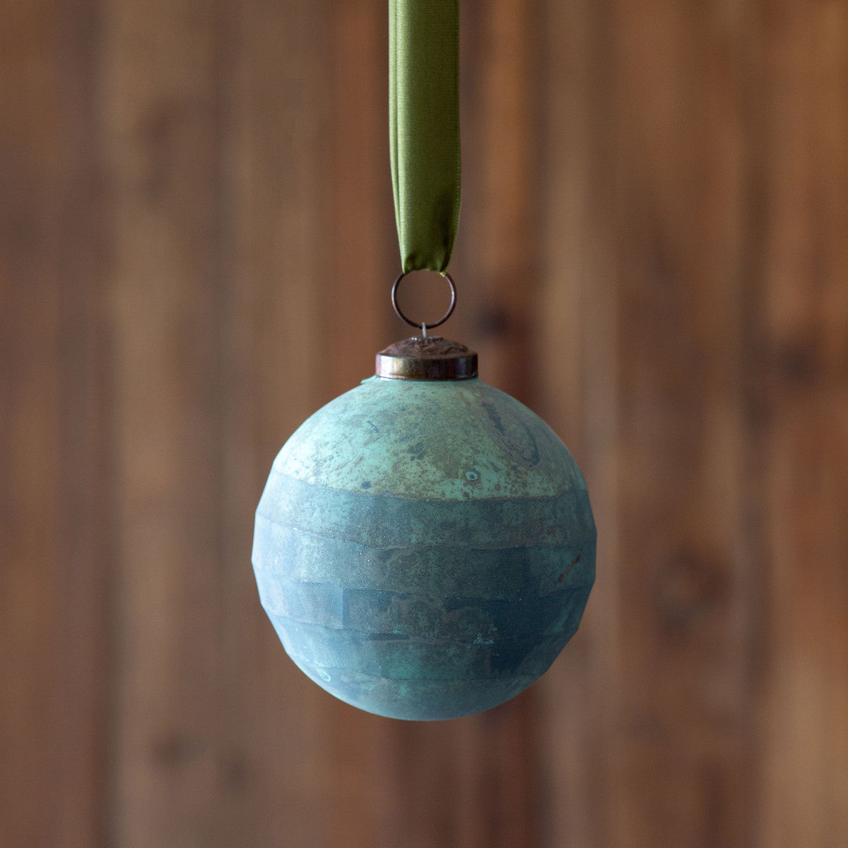 Grated Pattern Glass Ball Ornament Turquoise