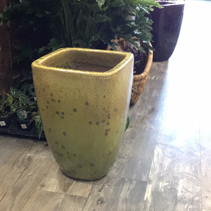 Lg yellow glazed pot