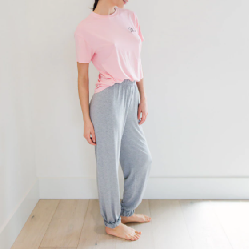 Load image into Gallery viewer, Not Your Boyfriend Sleep Set in Blush/Grey