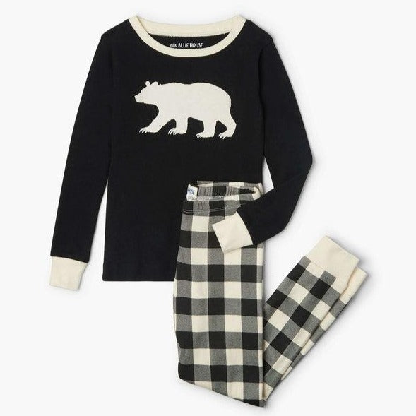 Cream Plaid Kids Applique Pajama Set