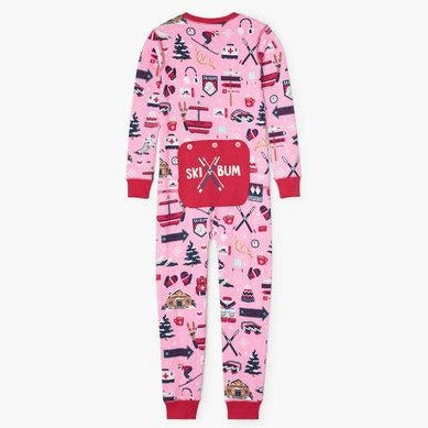 Pink Ski Holiday Kid's Union Suit