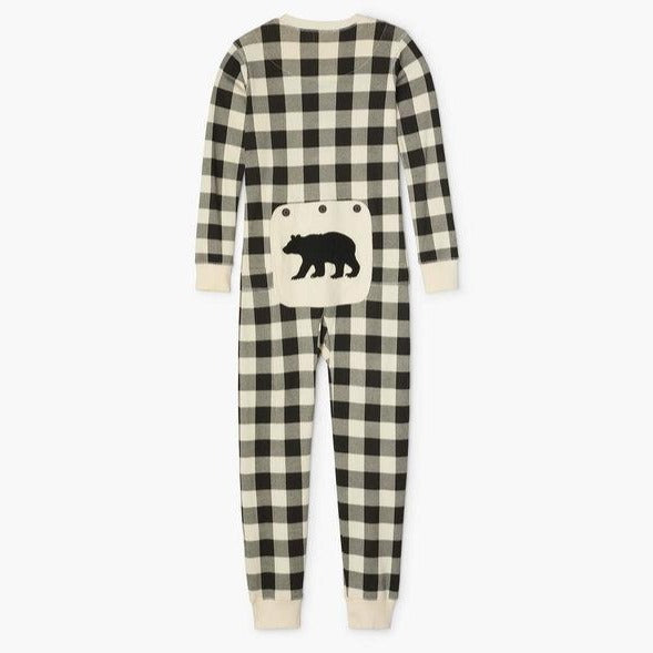 Cream Plaid Kid's Union Suit