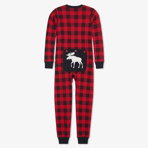 Load image into Gallery viewer, Moose on Buffalo Plaid Kid's Union Suit