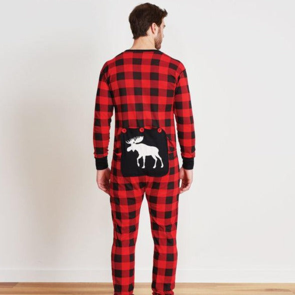 Moose on Plaid Adult Union Suit