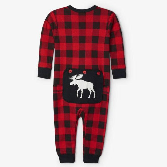 Moose on Buffalo Plaid Baby Union Suit