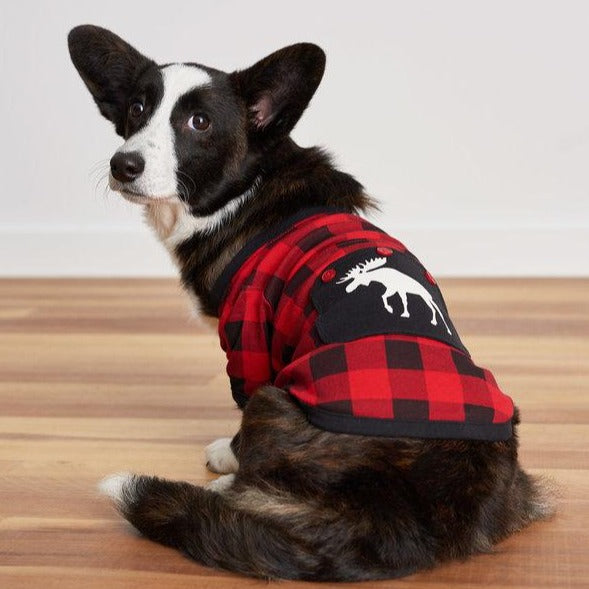 Moose On Buffalo Plaid - Dog Pajamas