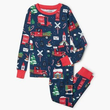 Navy Winter Village Kids Pajama Set