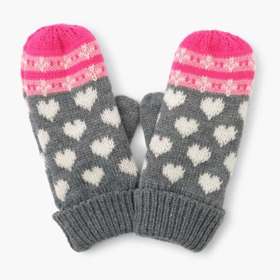 Winter Hearts Fleece Lined Mittens