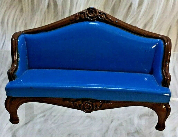 VTG Mattel Blue Sofa Die-Cast 1980 The Littles Dollhouse piano bench 2 pc I05