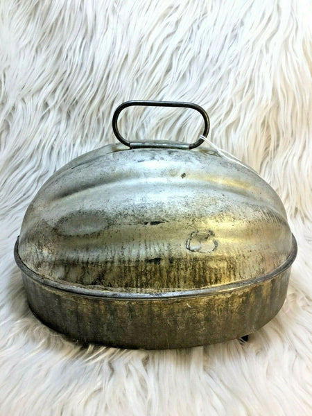 "Antique Melon Shaped Mold Tin Ice Cream Food Pudding Mold 7.5"" Lid RARE I01"
