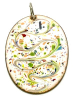Multi-Colored Oval Enamel Pendant Necklace charm copper white green reds D84