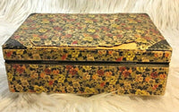 "Victorian 7"" Floral Paper Wood Jewelry Trinket Keepsake Box Made In Germany I13"