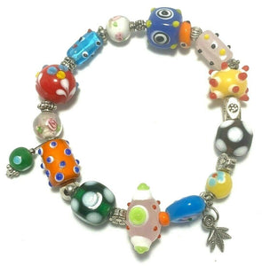 Multi colored funky painted glass silver beads stretch beaded bracelet art D75