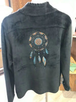 Dream Catcher embroidered Jacket by Venario Super Soft Black Front Zip Coat B14