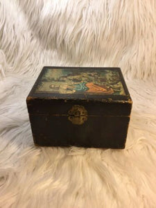 Handmade Wood Decoupage Box Jewelry Trinket Victorian Girl Bookshelf Storage
